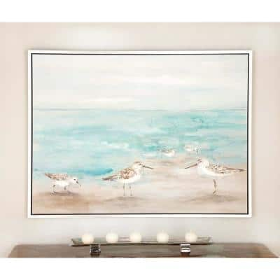 """36 in. x 47 in. """"Brown Birds on Brown and Blue Seashore"""" Framed Hain Painted Canvas Wall Art"""