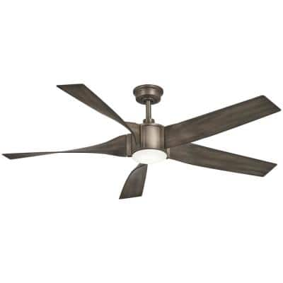Sky Parlor 56 in. Integrated LED Indoor Burnished Nickel Ceiling Fan with Light