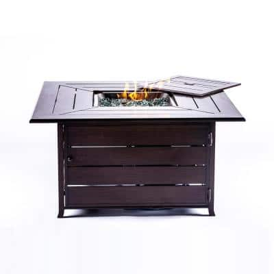 44.88 in. x 24 in. Square Aluminum Propane Fire Pit in Natural Wood Look with Table Lid and Cover