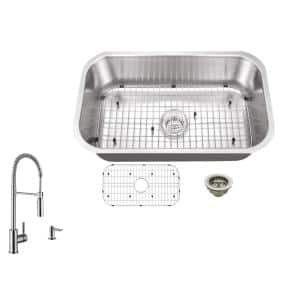 All-in-One Undermount 18-Gauge Stainless Steel 29-3/4 in. 0-Hole Single Bowl Kitchen Sink with Pull Down Faucet