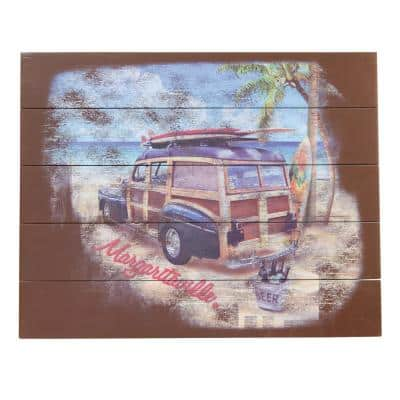 Surf Woody Truck Outdoor Wall Art Sign