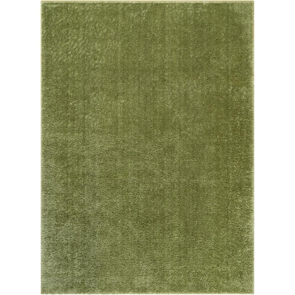 Well Woven Rainbow Chroma Glam Solid Green 9 Ft 3 In X 12 Ft 6 In Multi Textured Shimmer Pile Shag Area Rug Ra 15 8 The Home Depot