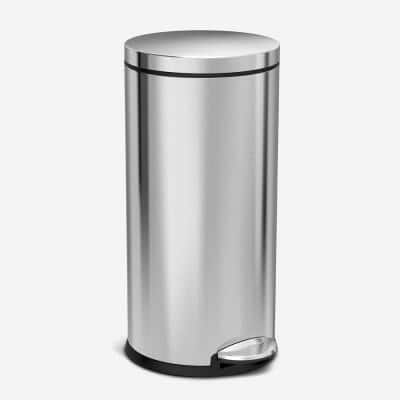 30-Liter Fingerprint-Proof Brushed Stainless Steel Round Step-On Trash Can