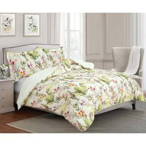 Arboretum Tropical Floral Print 100% Cotton Twin Comforter and Sham Set