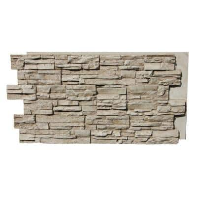 Lightning Ridge 48 in. x 24 in. Class A Fire Rated Faux Stone Siding Panel Finished Biscotti Tan