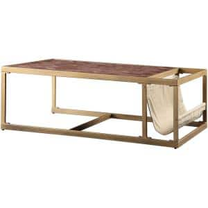 Genevieve 51 in. Brown Large Rectangle Metal Coffee Table