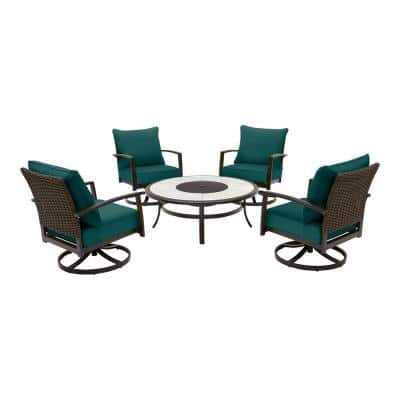 Whitfield 5-Piece Dark Brown Metal Outdoor Patio Round Fire Pit Seating Set with CushionGuard Malachite Green Cushions