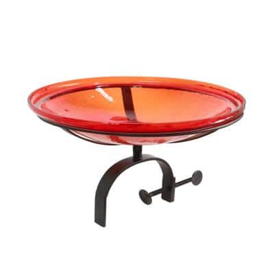 14 in. Dia Red Reflective Crackle Glass Birdbath Bowl with Over Rail Bracket