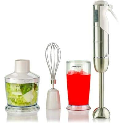 6-Speed White Immersion Blender with Chopper and Whisk Attachment