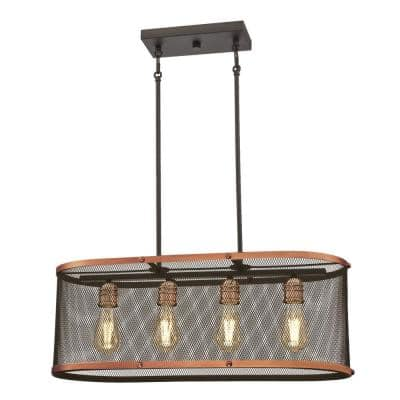 Emmett 4-Light Oil Rubbed Bronze and Washed Copper Chandelier with Mesh Shade