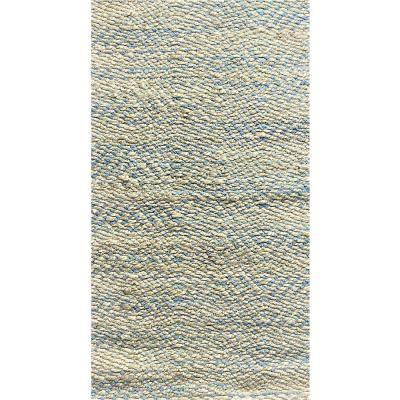 Accord Subtle Blue 7 ft. x 9 ft. Chevron Natural Jute Area Rug