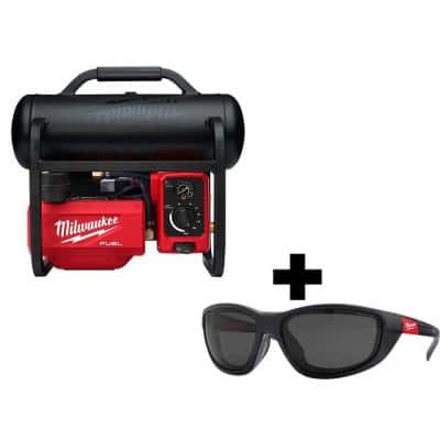M18 FUEL 18-Volt Lithium-Ion Brushless 2 Gal. Electric Compact Quiet Compressor and Polarized Tinted Safety Glasses