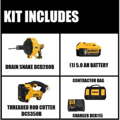 20-Volt MAX Cordless Brushless Drain Snake, Cordless Threaded Rod Cutter, (2) 20-Volt 5.0Ah Batteries, Charger & Bag