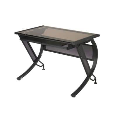 42 in. Rectangular Black/Bronze Computer Desk with Keyboard Tray
