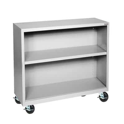 36 in. Dove Gray Metal 2-shelf Cart Bookcase with Adjustable Shelves