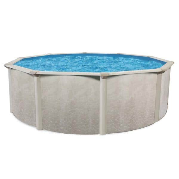 Aquarian 24 Ft X 52 In Deep Round Steel Frame Hard Side Above Ground Outdoor Swimming Pool Includes Pool Frame Only Ecrc00245t The Home Depot