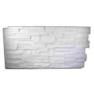 Earth Valley Faux Stone 48-3/4 in. x 24-3/4 in. Coconut White Class A Fire Rated Urethane Interlocking Panel