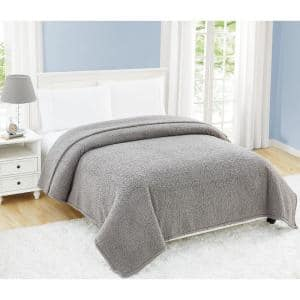 Cloud Sherpa Grey Polyester Full/Queen Blanket