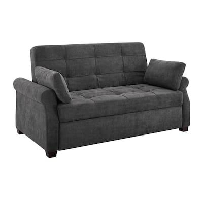 Harrington 37.6 in. Grey Polyester 2-Seater Convertible Tuxedo Sofa with Round Arms