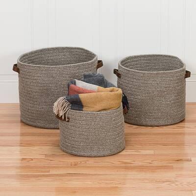 Monaco 16 in. x 16 in. x 12 in. Grey Round Natural Wool Braided Basket