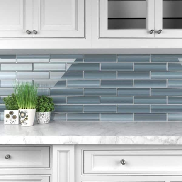 Bodesi Deep Ocean 3 In X 12 Glass Tile For Kitchen Backsplash And Showers 10 Sq Ft Per Box Hp Do 3x12 The Home Depot