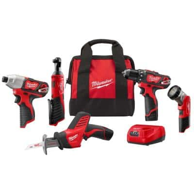 M12 12-Volt Lithium-Ion Cordless Combo Kit (5-Tool) with Two 1.5 Ah Batteries, Charger and Tool Bag
