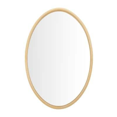 Medium Oval Gold Metal Classic Accent Mirror with Deep-Set Frame (30 in. H x 20 in. W)