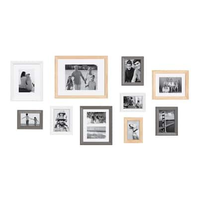 Bordeaux Multi/Natural Wood Picture Frames (Set of 10)