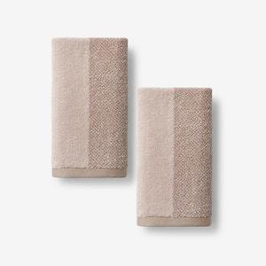 Dual Color Pumice Geometric Organic Cotton Fingertip Towel (Set of 2)