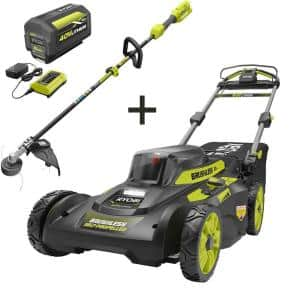20 in. 40-Volt Brushless Lithium-Ion Cordless Walk Behind Self-Propelled Mower & Trimmer w/6.0 Ah Battery & Charger