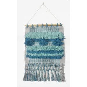 Coast Gray / Teal Fringed Wall Tapestry