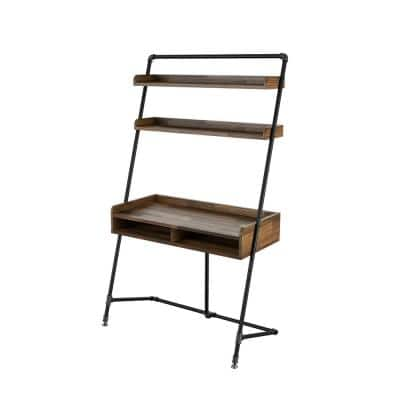 Kasia 41.71 in. W Light Hickory Leaning Writing Desk With 2-Shelves