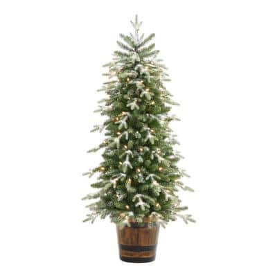 5 ft Snowfall Shimmer Noble Fir Potted Pre-Lit LED Artificial Christmas Tree with 90 Warm White Mini Lights