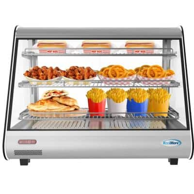 34 in 5.6 cu. Ft. 3 Shelf Countertop Commercial Food Warmer Display Case with LED lighting in Stainless Steel