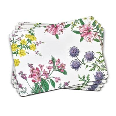 11.7 in. x 15.7 in. Stafford Blooms White MDF /Cork Backed Placemats (Set of 4)