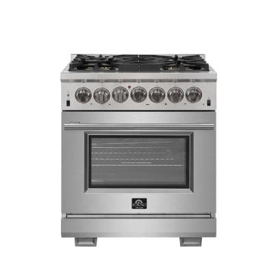 Capriasca 30 in. 4.32 cu. ft. Gas Range with 5 Gas Burners and Electric 240-Volt Oven in Stainless Steel