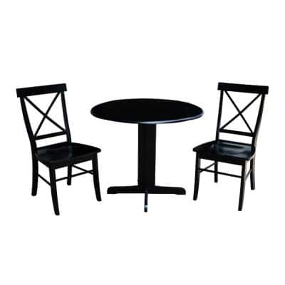 3-Piece 36 in. Black Drop-leaf Table and Alexa Chair Set