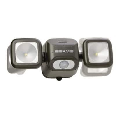NetBright Networked Outdoor 500 Lumen Battery Powered Motion Activated Integrated LED Twin Head Security Light, Brown
