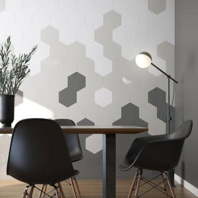 Take Home Sample - Giant Hexagon White 5 in. x 5 in. x 5 mm in Metal Peel and Stick Wall Tile (0.09 sq.ft/Each)