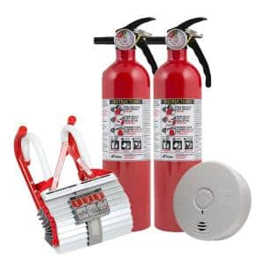 2-Story Home Fire Safety Kit, 2-Pack 10-Year Battery Smoke Detector with Fire Escape Ladder and 2-Pack Fire Extinguisher
