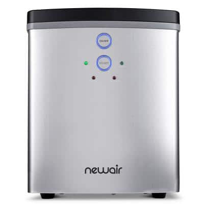 Portable 33 lb. of Ice a Day Countertop Ice Maker BPA Free Parts with 2 Ice Size and Removable Tray - Stainless Steel
