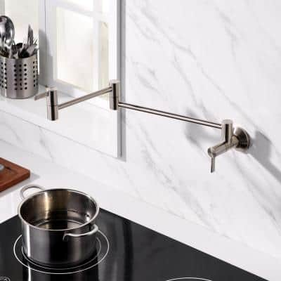 Contemporary 2-Handle Wall-Mounted Pot Filler in Brushed Nickel