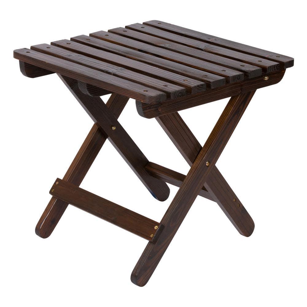 Shine Company Adirondack Burnt Brown Square Wood Folding Table 4109bb The Home Depot
