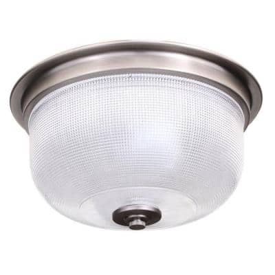 Archie Collection 2-Light Antique Nickel Flush Mount with Clear Prismatic Glass
