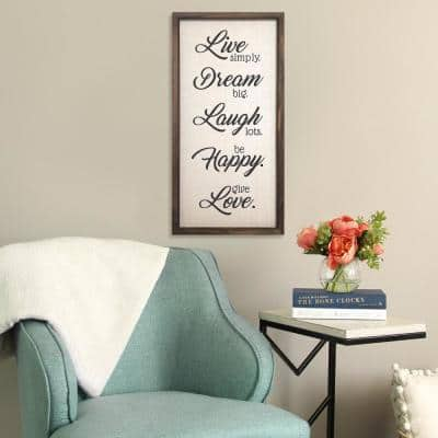 """""""Live, Dream, Laugh, Happy, Love"""" Wooden and Metal Wall Decor"""