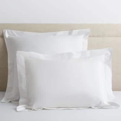 Classic White Solid 210-Thread Count Cotton Percale Standard Sham