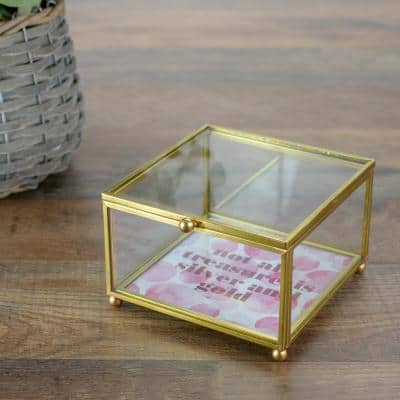 4.25 in. Gold with Lid Glass Keepsake Box