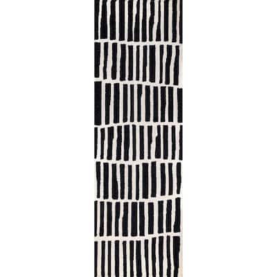 Lemuel Geometric Black 2 ft. 6 in. x 6 ft. Indoor Runner Rug