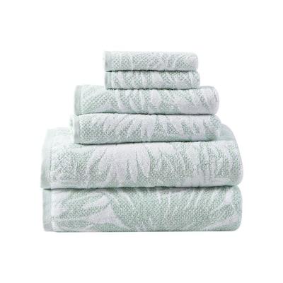 Lago Palm 6-Piece Green Floral Cotton Towel Set