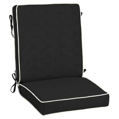 21 x 44 Sunbrella Canvas Black Outdoor Dining Chair Cushion